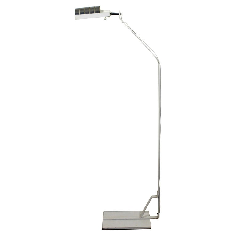 Mid-Century Modern Chrome and White Metal Adjustable Reading Floor Lamp, 1970s For Sale