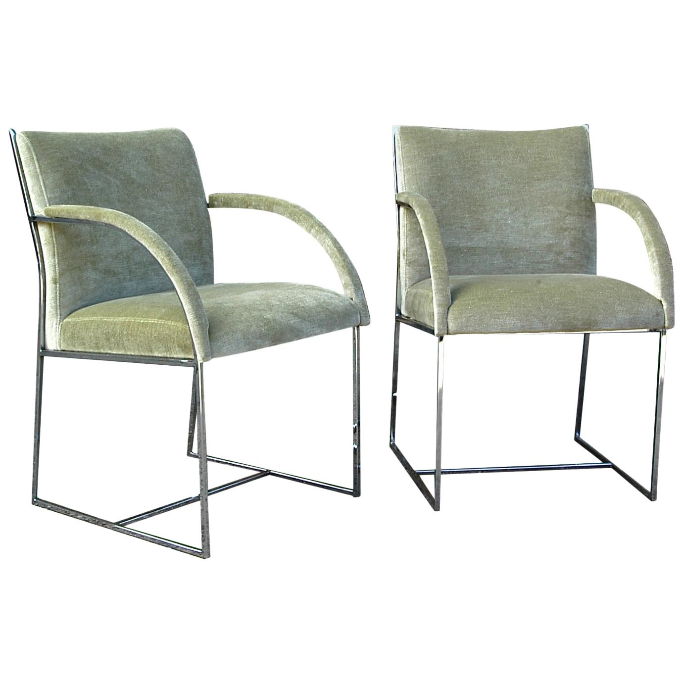Mid-Century Modern Chrome Armchairs in the Style of Milo Baughman