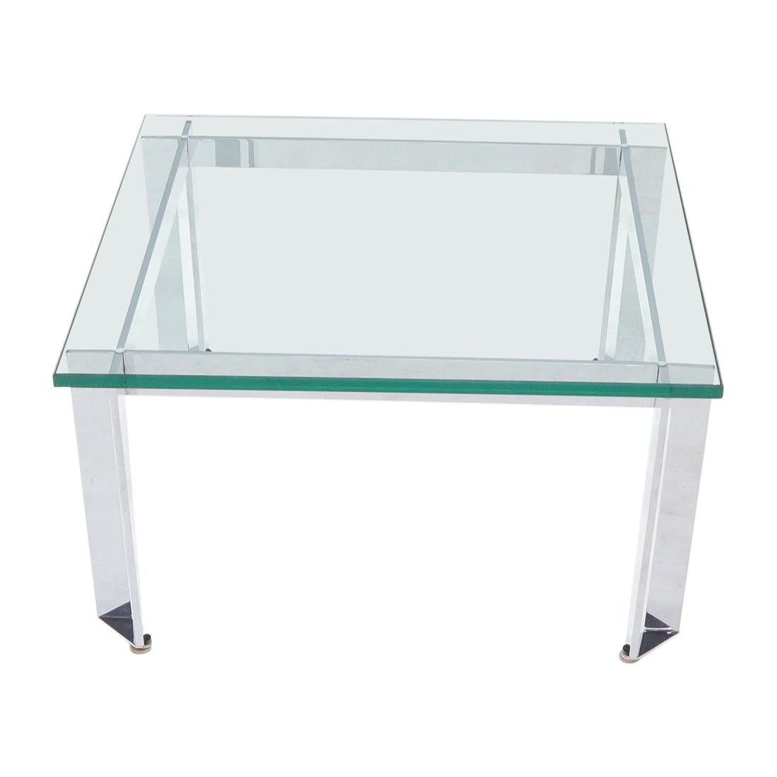 Mid-Century Modern Chrome Base Square Thick Glass Top Coffee Table