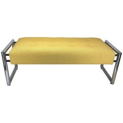 Mid-Century Modern Chrome Bench with Yellow Knoll Upholstery