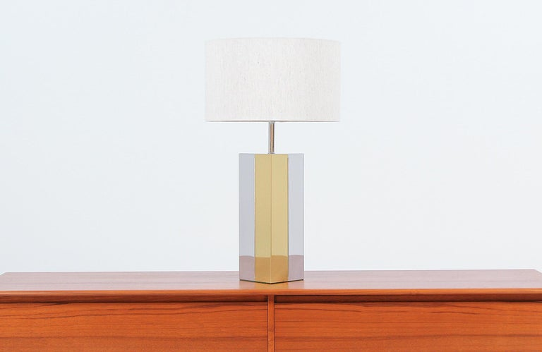 American Mid-Century Modern Chrome and Brass Table Lamp For Sale