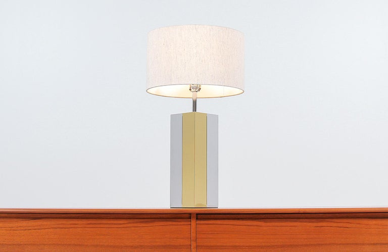 Polished Mid-Century Modern Chrome and Brass Table Lamp For Sale