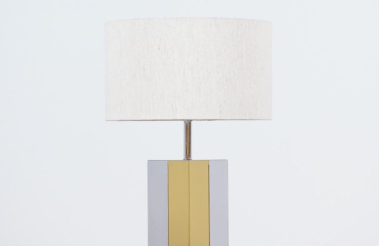 Mid-20th Century Mid-Century Modern Chrome and Brass Table Lamp For Sale