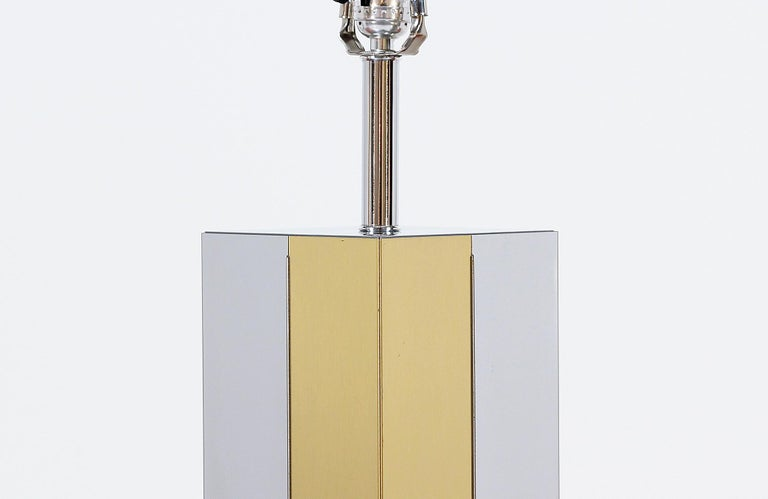 Mid-Century Modern Chrome and Brass Table Lamp For Sale 2