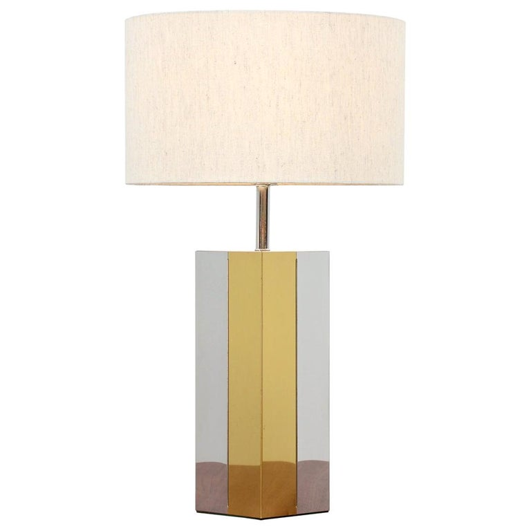 Mid-Century Modern Chrome and Brass Table Lamp For Sale