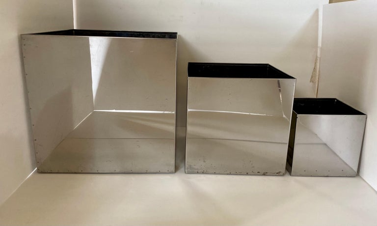 Mid-20th Century Mid-Century Modern Chrome Cityscape Square Cubist Planter Vessels, C Jere Style For Sale