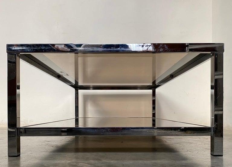 Mid-Century Modern Chrome Coffee Table by Belgo Chrome, Belgium, 1980s For Sale 4