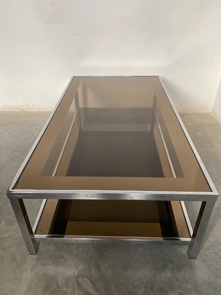 Mid-Century Modern Chrome Coffee Table by Belgo Chrome, Belgium, 1980s In Good Condition For Sale In Antwerp, BE