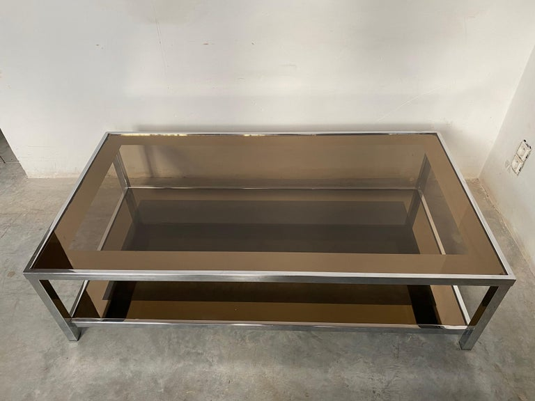 Late 20th Century Mid-Century Modern Chrome Coffee Table by Belgo Chrome, Belgium, 1980s For Sale