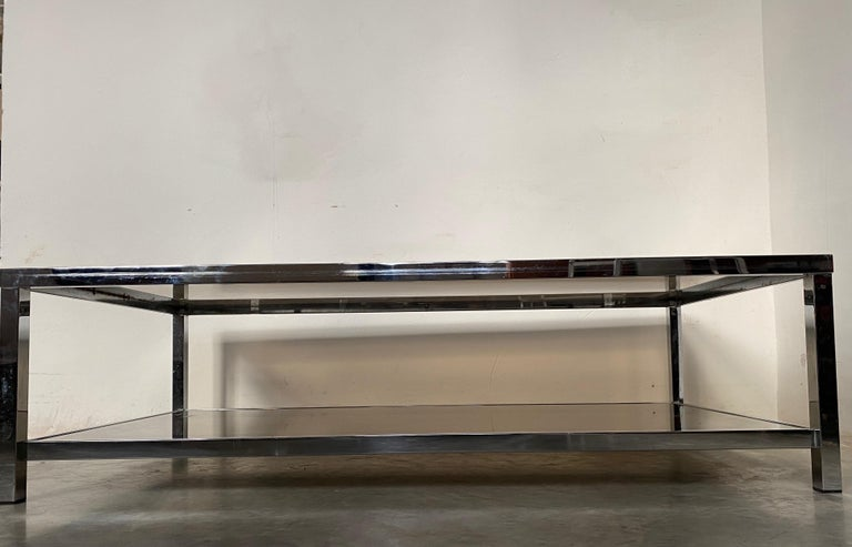 Metal Mid-Century Modern Chrome Coffee Table by Belgo Chrome, Belgium, 1980s For Sale