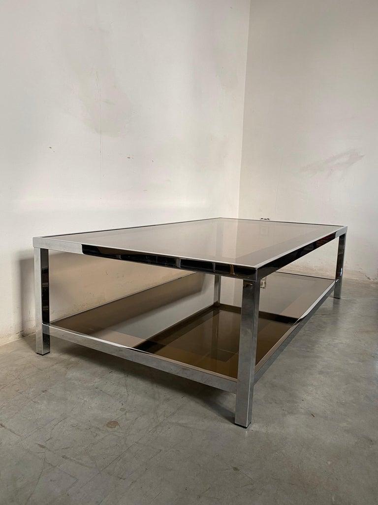 Mid-Century Modern Chrome Coffee Table by Belgo Chrome, Belgium, 1980s For Sale 1