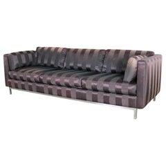 Mid-Century Modern Chrome Cube Tuxedo Sofa