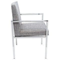 Mid-Century Modern Chrome Desk Chair with Woven Upholstery, c. 1970's