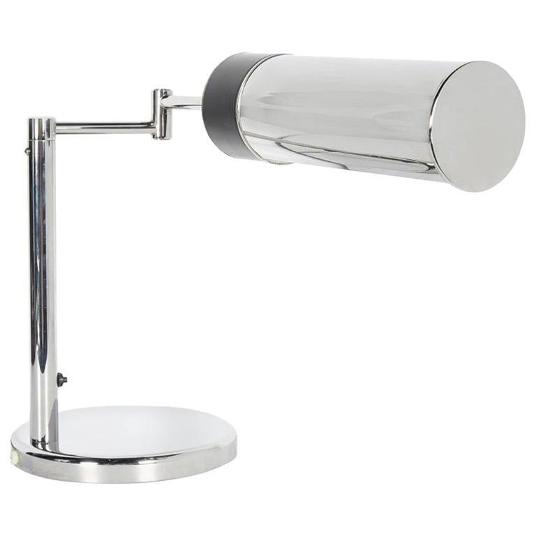 Mid-Century Modern Chrome Desk Lamp with Swing Arm by Walter Von Nessen, 1960s For Sale
