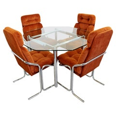 Mid-Century Modern Chrome Dinette Set of 4 Side Chairs Octagon Glass Top Table