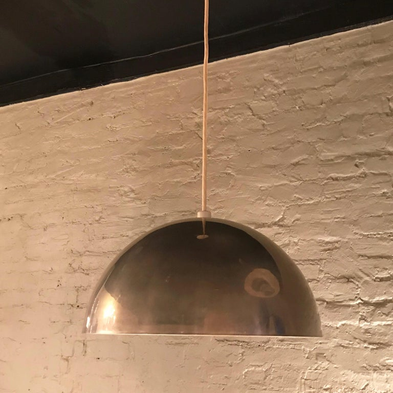 American Mid-Century Modern Chrome Dome Pendant Light For Sale