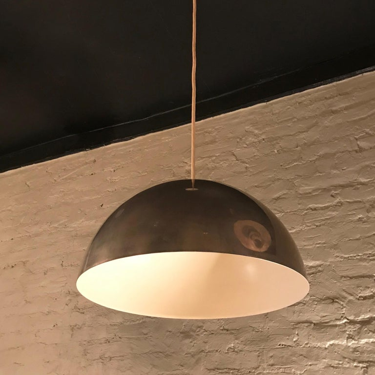 Mid-Century Modern Chrome Dome Pendant Light In Good Condition For Sale In Brooklyn, NY