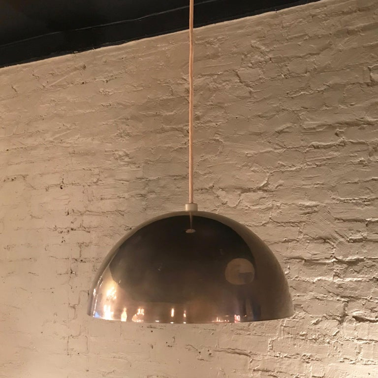 20th Century Mid-Century Modern Chrome Dome Pendant Light For Sale