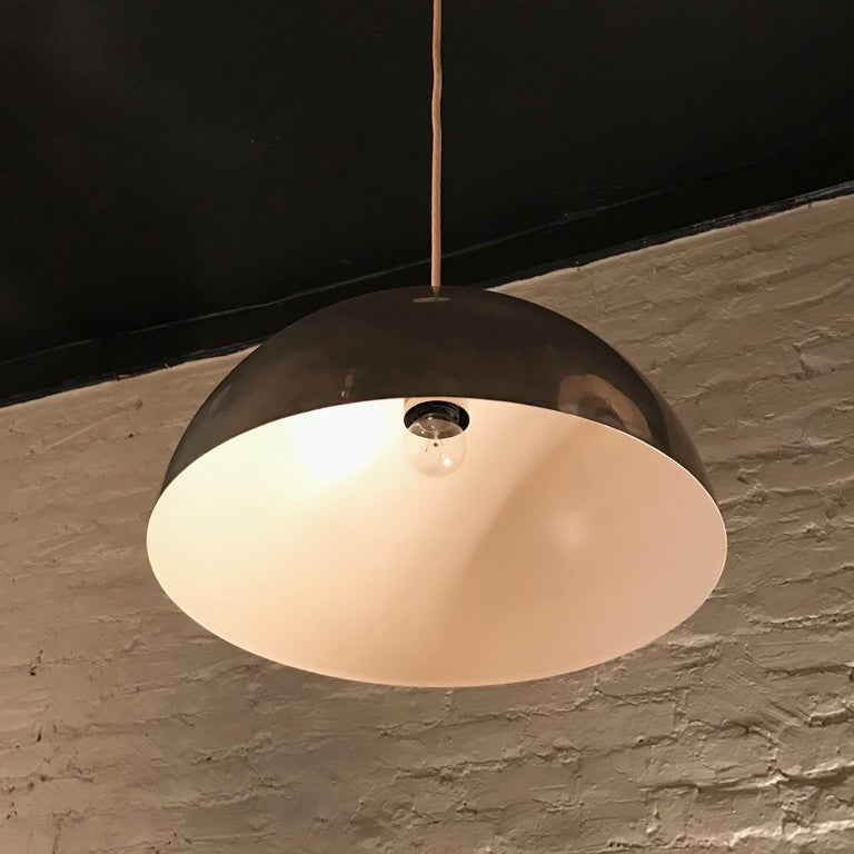 Mid-Century Modern Chrome Dome Pendant Light For Sale 1