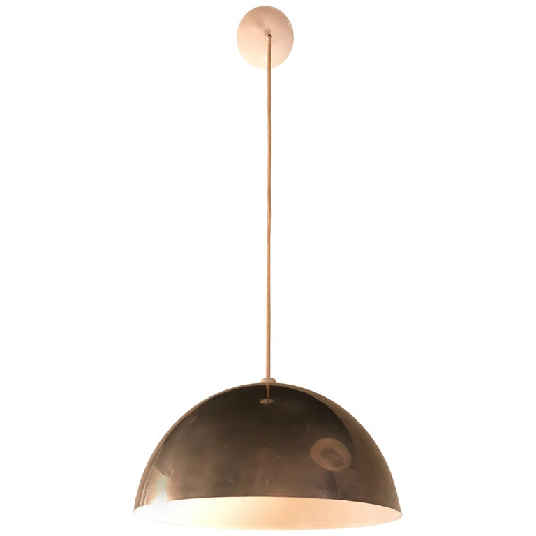 Mid-Century Modern Chrome Dome Pendant Light For Sale