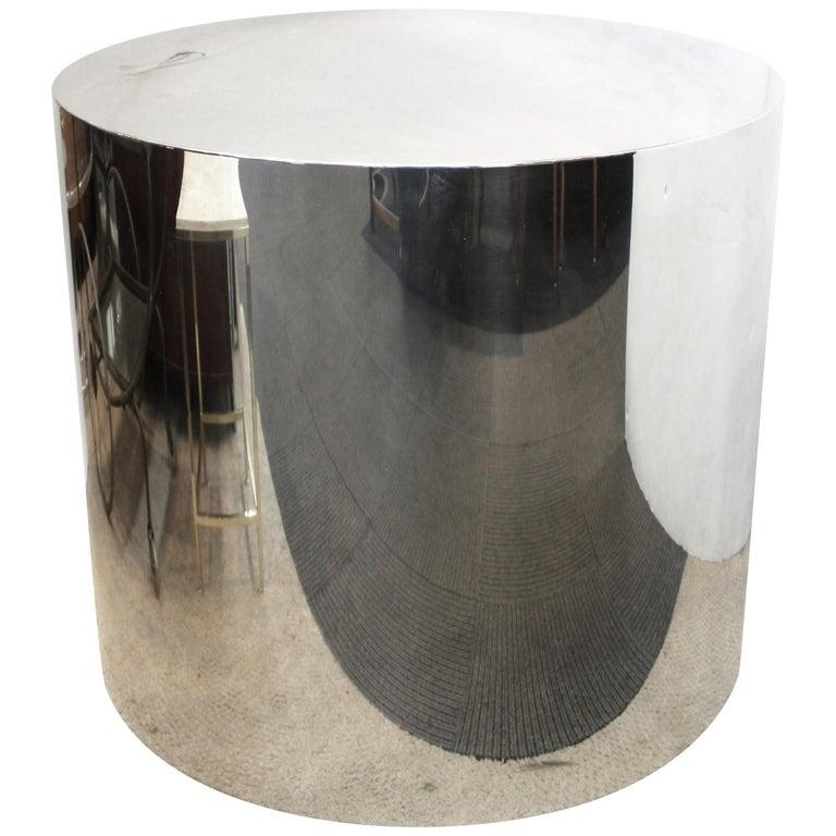 Chrome Drum Coffee Table: Mid-Century Modern Chrome Drum Pedestal Or Centre Table
