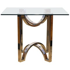 Mid-Century Modern Chrome End Table or Coffee Table with Glass Top