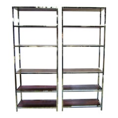 Mid-Century Modern Chrome Étagères with Rosewood Shelves