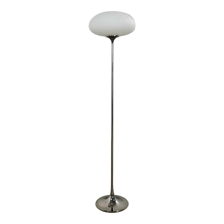 Mid-Century Modern Chrome Floor Lamp Frosted Glass Mushroom Globe Laurel Lamp Co