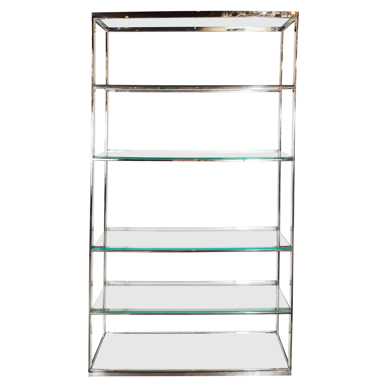 Mid-Century Modern Chrome, Glass, and Mirror Étagère