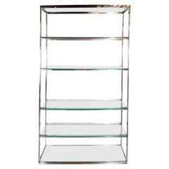 Mid-Century Modern Chrome, Glass, and Mirror Étagère