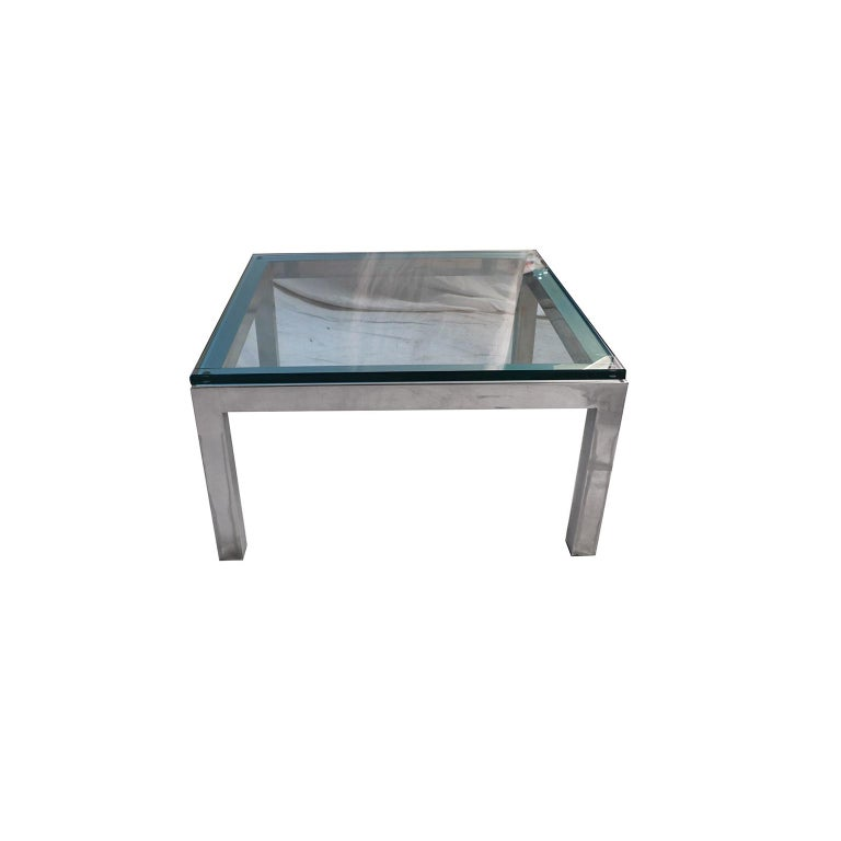 American Mid-Century Modern Chrome and Glass Coffee Table Milo Baughman Style For Sale