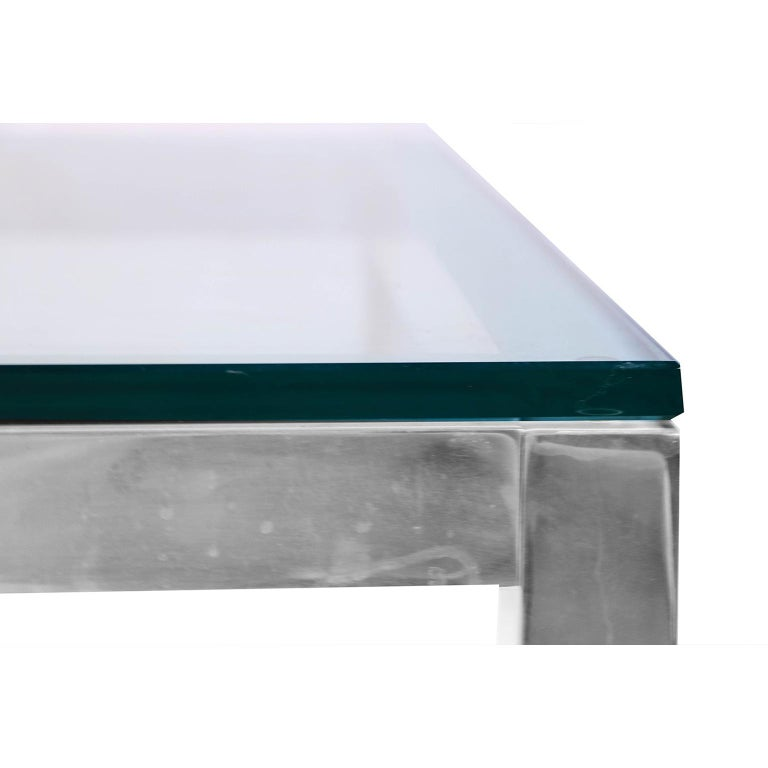Mid-Century Modern Chrome and Glass Coffee Table Milo Baughman Style For Sale 1