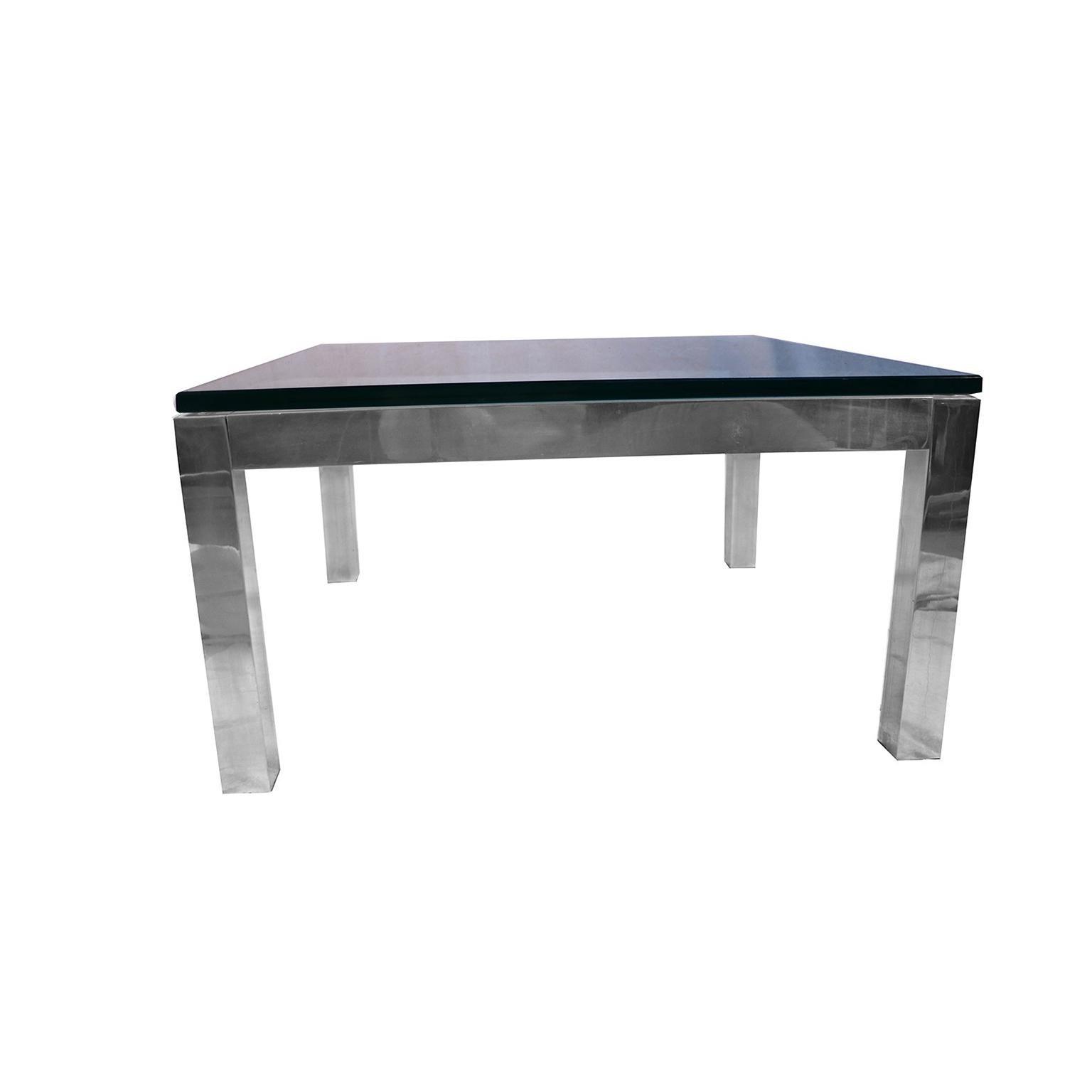 Mid Century Modern Chrome And Glass Coffee Table Milo Baughman Style