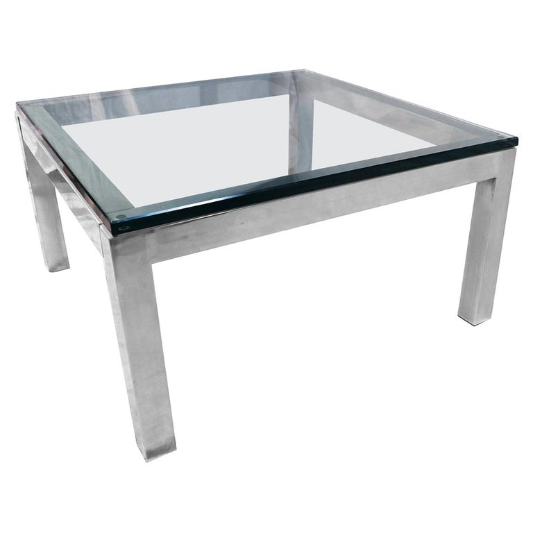 Mid-Century Modern Chrome and Glass Coffee Table Milo Baughman Style For Sale