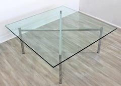 Mid-Century Modern Chrome Glass Coffee Table X-Base Bennett Mies Barcelona Style