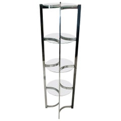 Mid-Century Modern Chrome and Glass Étagère Shelving Unit after Milo Baughman