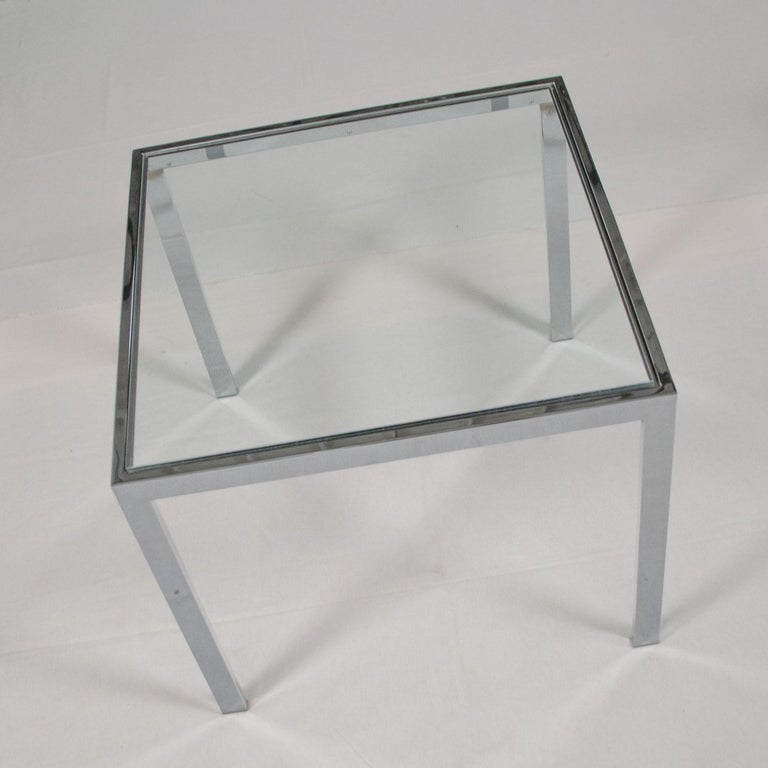 Mid-Century Modern Chrome and Glass Parsons End or Side Table after Baughman For Sale 5