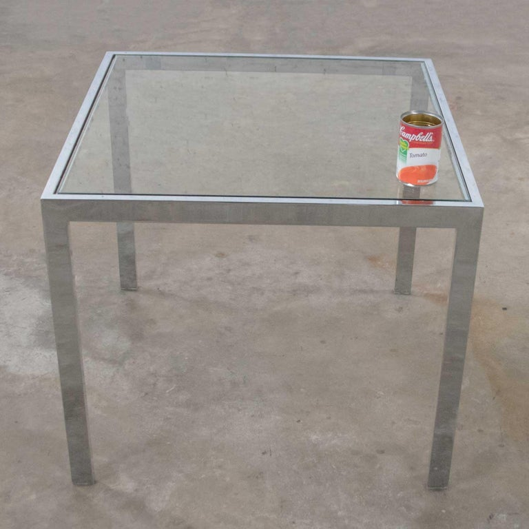 Mid-Century Modern Chrome and Glass Parsons End or Side Table after Baughman For Sale 6
