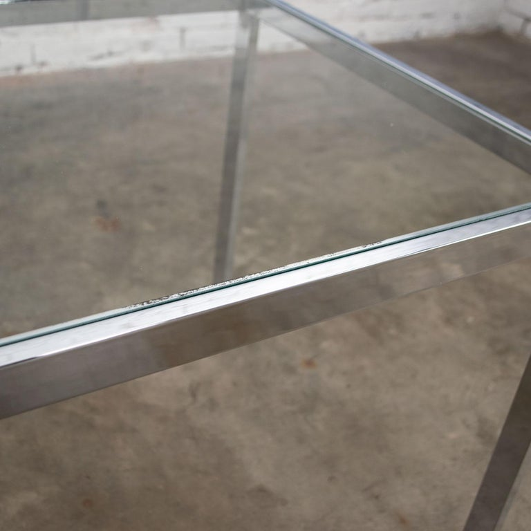 Mid-Century Modern Chrome and Glass Parsons End or Side Table after Baughman For Sale 7