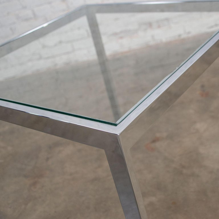 Mid-Century Modern Chrome and Glass Parsons End or Side Table after Baughman For Sale 8