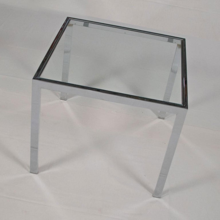 American Mid-Century Modern Chrome and Glass Parsons End or Side Table after Baughman For Sale