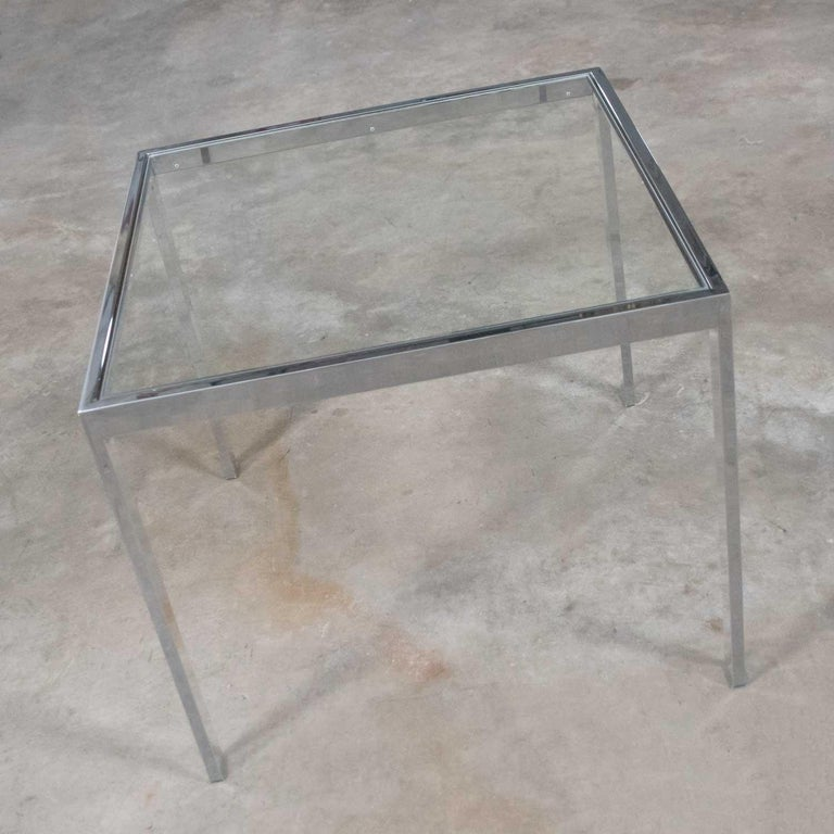Mid-Century Modern Chrome and Glass Parsons End or Side Table after Baughman In Good Condition For Sale In Topeka, KS