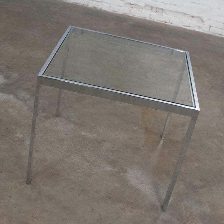 20th Century Mid-Century Modern Chrome and Glass Parsons End or Side Table after Baughman For Sale