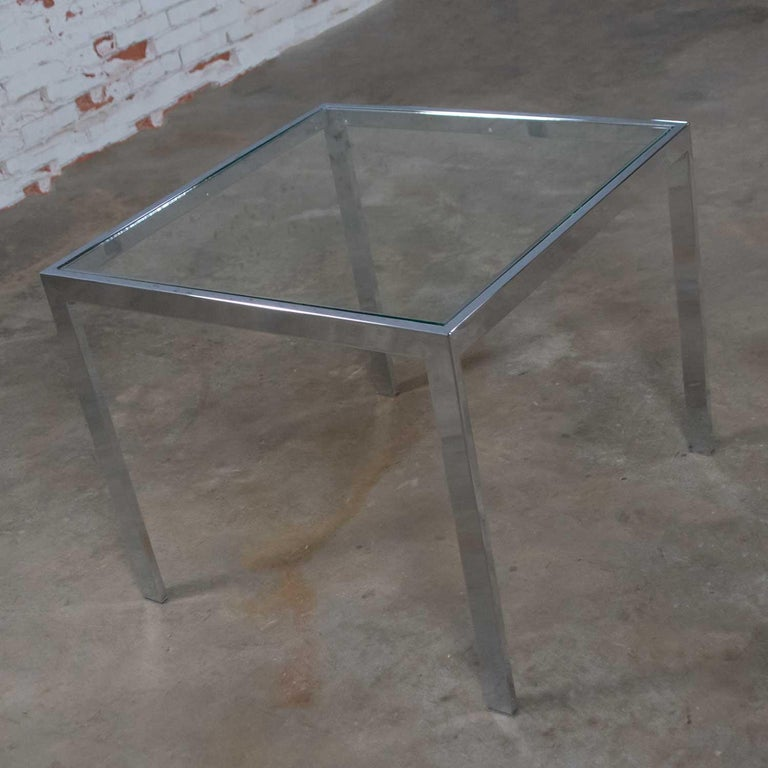 Mid-Century Modern Chrome and Glass Parsons End or Side Table after Baughman For Sale 1