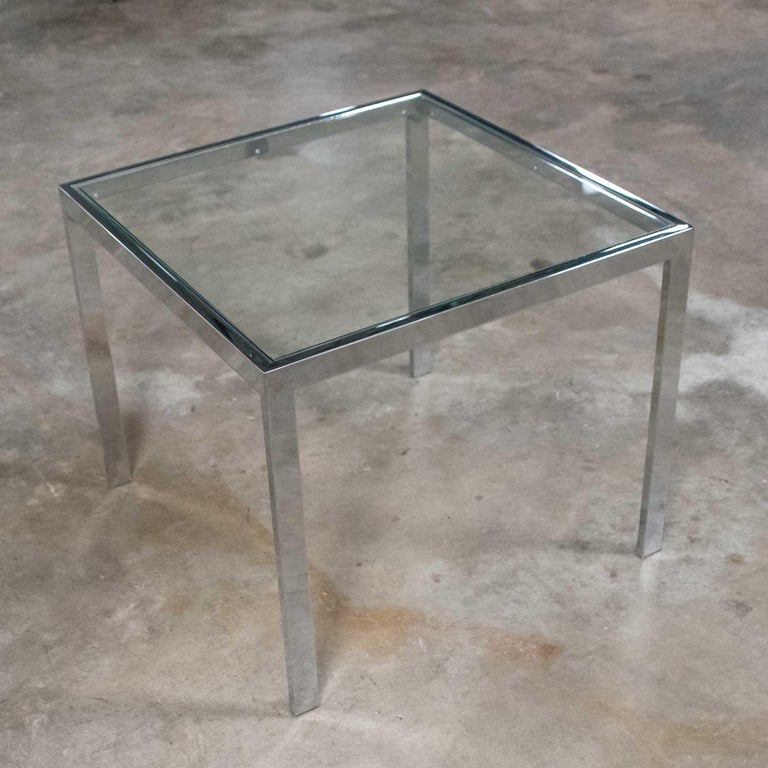 Mid-Century Modern Chrome and Glass Parsons End or Side Table after Baughman For Sale 2