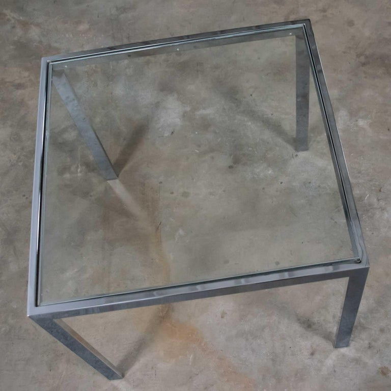 Mid-Century Modern Chrome and Glass Parsons End or Side Table after Baughman For Sale 3