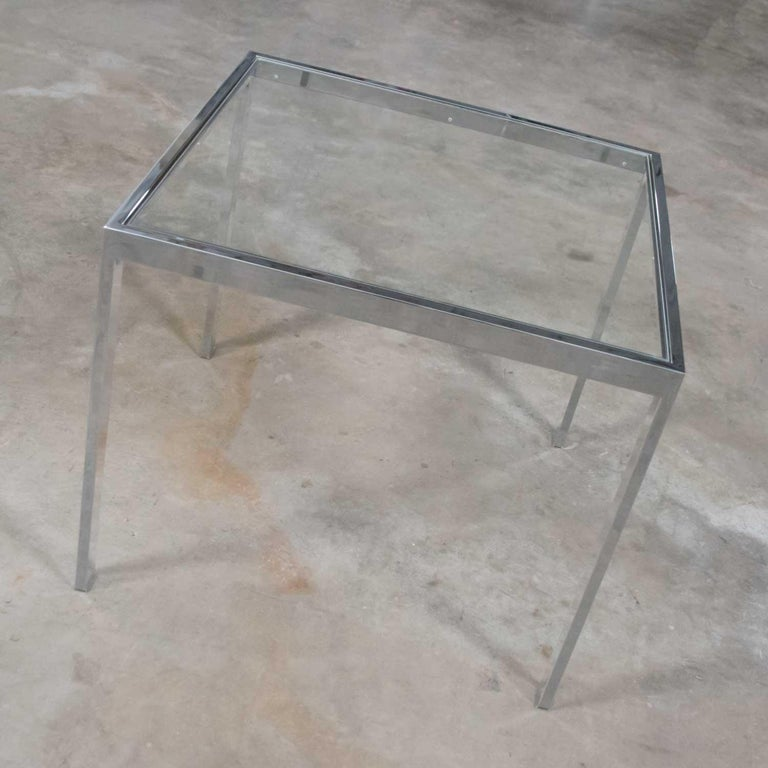 Mid-Century Modern Chrome and Glass Parsons End or Side Table after Baughman For Sale 4