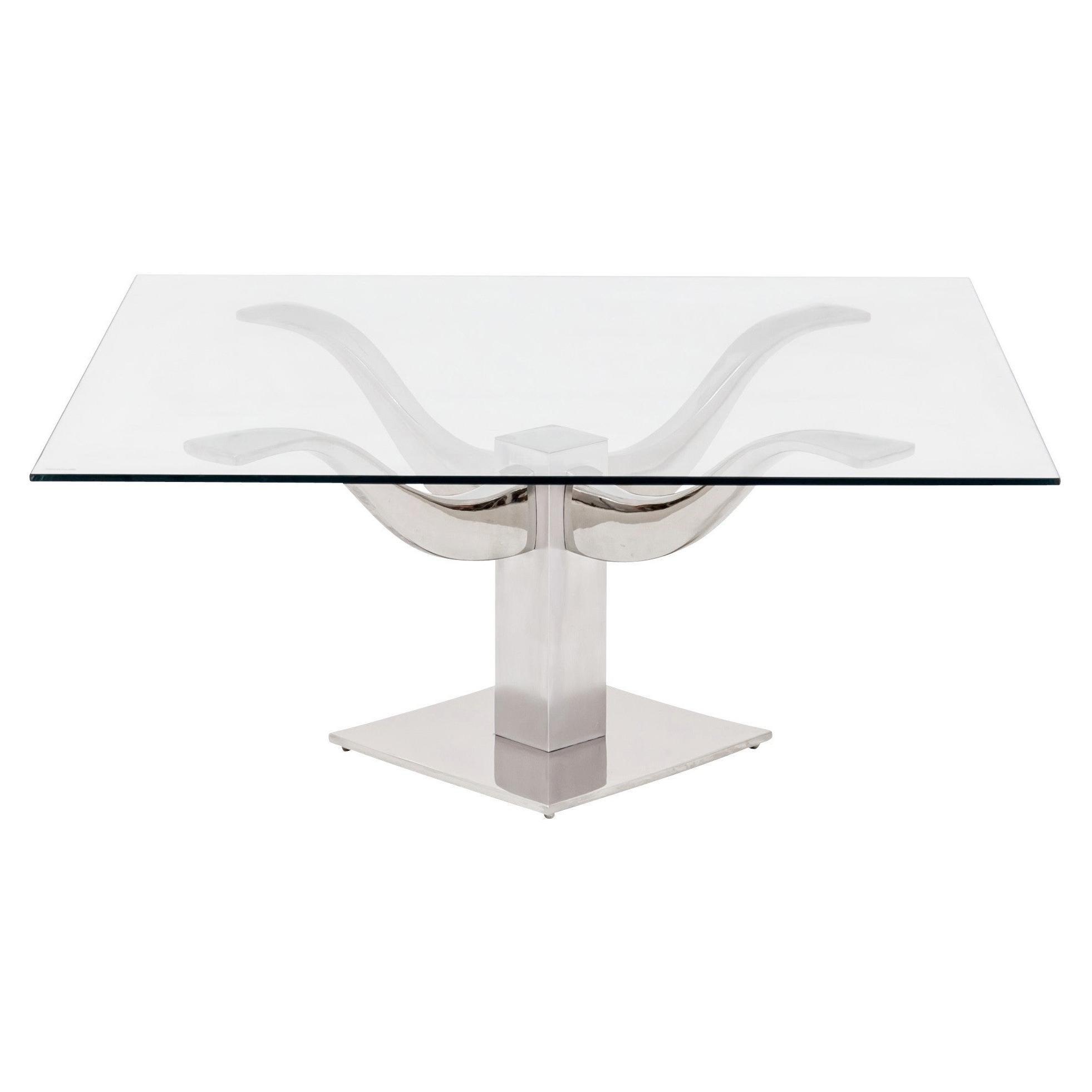 Mid-Century Modern Chrome & Glass Top 4-Arm Pedestal Coffee Table