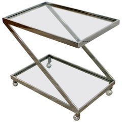 Mid-Century Modern Chrome and Glass Z-Shaped 2-Tier Serving Bar Cart, 1970s
