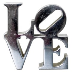 Mid-Century Modern Chrome Love Paperweight Table Sculpture by Robert Indiana